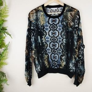 Cabi Sheer Blouse Python Chiffon Snake Sweater 572
